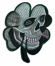 "Harley Biker Skull Clover Celtic 4"" Tall Embroidered Patch"