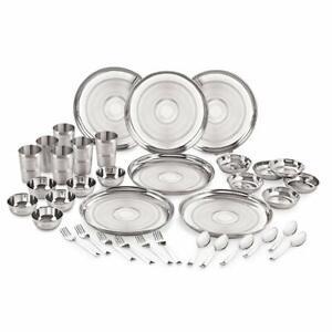 Stainless Steel 24 Gauge Diamond Touch Dinner Set, 36 pcs, Silver