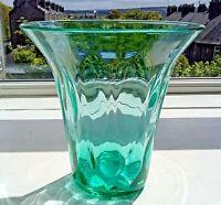 Mid Century Blue Uranium Diamond Moulded Glass Vase with Flared Rim 21.5 cm high