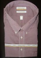 Roundtree Yorke Dress Shirt * Burgundy Gingham Pattern 20 - 34/35 BIG - NWT