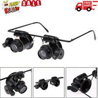 20X Glasses Type Magnifier Watch Repair Tool with Two LED Lights Y