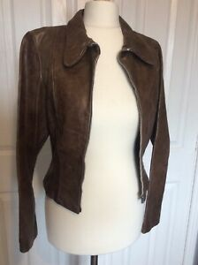 true vintage 70, s brown leather zip jacket large collar sma