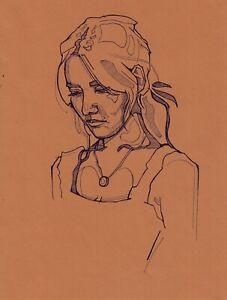 original drawing 19,5 x 26 cm 5SAn art samovar ink female portrait  Signed 2021