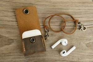 Personalized distressed brown leather apple airpod pro case sleeve cover