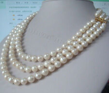 """Beautiful 3 Rows 9-10mm AA++ south sea white pearl necklace 17-20"""""""