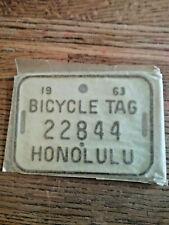 NOS 1963 BICYCLE LICENSE PLATE / TAG   SCHWINN STING RAY CORVETTE VTG. NEW MINT