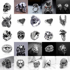 Mens Stainless Steel Silver Fashion Cool Gothic Punk Biker Finger Rings Jewelry