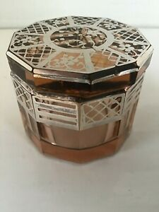 Small Heavy Art Deco - Glass Pot - With Silver Overlay