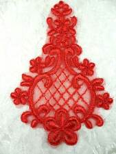 GB325 Embroidered Venise Lace Red Floral Applique