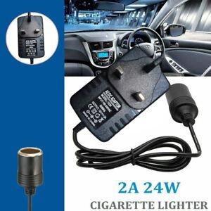 UK 240V Mains Plug to 12V Socket Adapter Converter Car Cigarette Lighter AC/DC