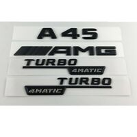 Black A45 AMG TURBO 4MATIC Trunk Fender Emblems Badges for Mercedes Benz W176