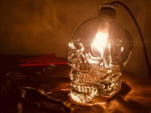 CRYSTAL HEAD VODKA SKULL BOTTLE LAMP BEDSIDE HALLOWEEN LIGHT HANDMADE BRUNI goth