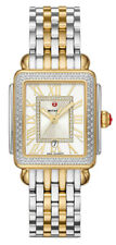 New Michele Deco Madison Mid Diamond Two-Tone Steel Laides Watch MWW06G000002