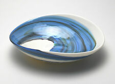 "HOME DECOR - ""AEGEAN SEA"" MURANO GLASS TRAY - IVORY / BLUE SWIRL - 7"" X 5"""