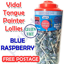10-150 Vidal Lollipop Sour BLUE RASPBERRY tongue painter LOLLY CANDY KIDS party