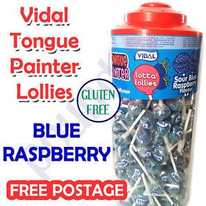 10-150 Vidal Lollipop Sour BLUE RASPBERRY tongue painter LOLLY CANDY KIDS party