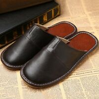 Mens Genuine Leather Slippers Shoes Sandals Black Handmade Slip On New Plus Size