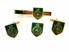 The Royal Green Jackets Army Cufflinks Tie Clip Lapel Badge Military Gift Set