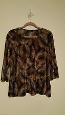 Briggs New York Brown and Black  Polyester Blouse / Top Plus Size 1X