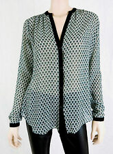 NWT MAX STUDIO Blouse Top Long Sleeve Button Down V-Neck Sheer Green Size S
