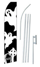 Ghost Graves Banner Flag Sign Display Complete Kit Tall Business Advertising 2.5