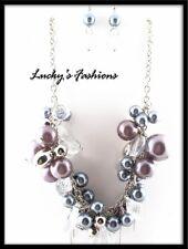 Chain Bead Purple Metallic Gray NECKLACE EARRING SET