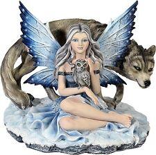 Sammlerfigur große ELFE mit Wolf und Eule Figur Fantasy Fairy Neu