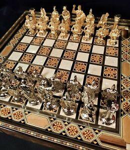 Premium Chess Board - Handmade Premium Vintage Antique Chess Checkers wood set