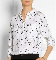 Women's Equipment SIGNATURE 100% SILK SHIRT Black Star Print Slim Fit Blouse Top