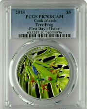 2018 ~ MAGNIFICENT LIFE ~ TREE  FROG ~ PCGS PR 70 DCAM ~ COLORIZED COIN~$148.88