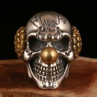 PRECIOUS 925 SILVER SKULL STATUE RING STYLISH LIMITED EDITION TIDE COOL JEWELRY