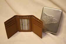 Reel Legends Genuine Premium Leather Tri-Fold Wallet - Texture Tan Finish no Fob