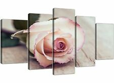 Extra Large Vintage Shabby Chic French Rose - Cream Floral Canvas 5 Set - 5278