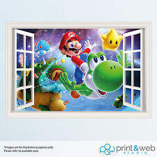 Super Mario Galaxy 3D ventana de vista Calcomanía Pared Adhesivo Decoración Hogar Arte de Mural