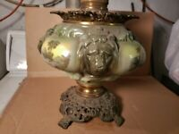 Antique GWTW Lamp Green Lions Head Safari Banquet consolidated