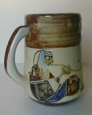 HALIVNY Old Painted CUP Beaker 1950 Colorful Israel Ceramic Pottery Ceramics Art