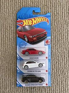 Hot Wheels Red Nissan Silvia S13 White Honda Civic Type R EK Gunmetal Subaru 22B