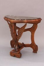 1920s Carved Wood Table w Marble Top & Swan Motif Antique Spanish Revival (9240)