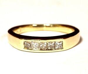 14k yellow gold .50ct SI2 H princess diamond wedding band ring 5.9g vintage