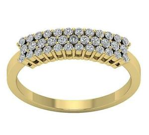 Engagement Ring Natural Round Cut Diamond SI1 G 0.60 Ct 14K Yellow Gold 4.35 mm