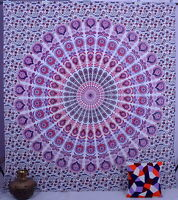 Indian Hippie Mandala Peacock Wall Hanging Tapestry Bedding Cotton Throw Decor