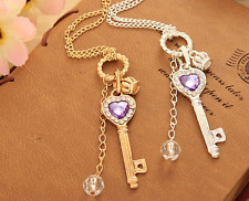 30pcs Women Purple Crystal Silver Crown Long Pendant Sweater Chain Necklace NEW