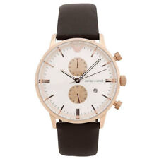 100% Authentic Emporio Armani Chronograph Brown Leather Band Watch AR0398