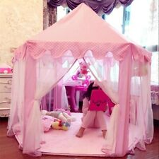 Princess Castle Tent Large Indoor Outdoor Kids Girls Pink Toy with String Lights