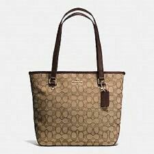 COACH NWT ZIP TOP TOTE IN OUTLINE SIGNATURE KHAKI/BROWN F58282 $275