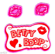 "2"" Betty boop logo & lip set fabric applique iron on character"