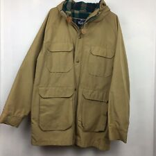 Vintage Woolrich Mens Beige Mountain Parka Hooded Coat Flannel Lined Medium USA