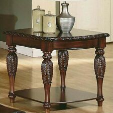 Steve Silver Company Antoinette Solid Wood End Table in Mahogany and Cherry