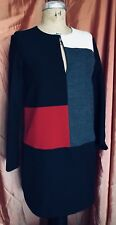 ZARA Wool Blend COLOR BLOCK SHIFT DRESS Keyhole Neckline Woman S Black Red Gray