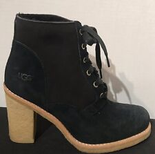 UGG 3213 Lace Up SOFIA Black Suede Boots Heels Shearling Womens Size: 7.5 NWOB